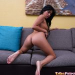 Ember gets naked on the couch and is ready for hard cock