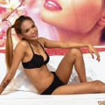 Filipina girl shows her tight slender body while posing in bra and panties